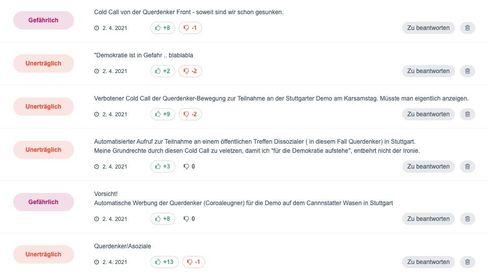 Screenshot von wemgehoert.de mit Beschwerden zur »Querdenken«-Werbenummer