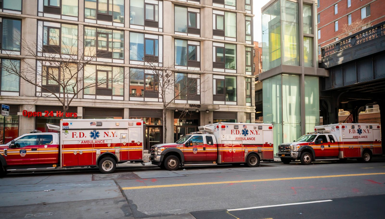 New York during the COVID-19 pandemic Ambulances parked outside of EMS Station Number 7 under the High Line Park in the