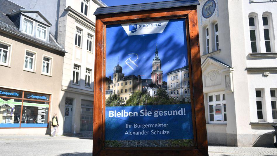 Plakat in der Altstadt von Greiz