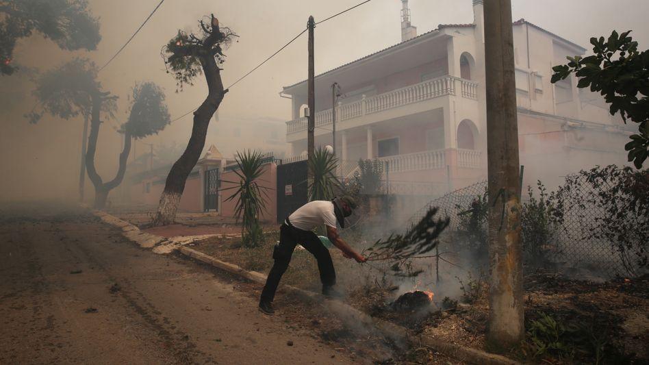 Kampf gegen die Flammen im Athener Vorort Kryoneri