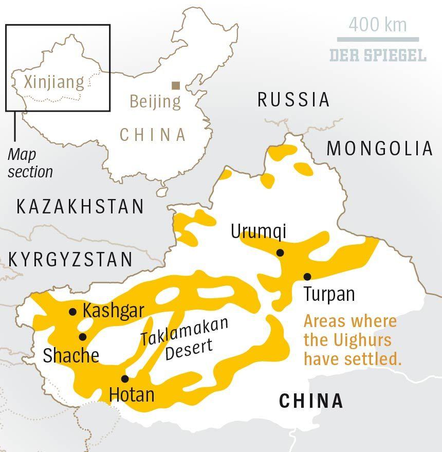 ENGLISCHE KARTE - DER SPIEGEL 30/2018 - Seite 78 - Map Areas Uighurs China