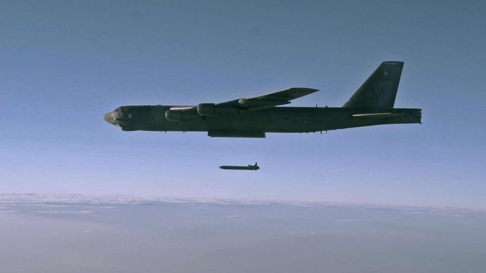 An unarmed AGM-86B Air-Launched Cruise Missile is released from a B-52H Stratofortress over the Utah Test and Training Range