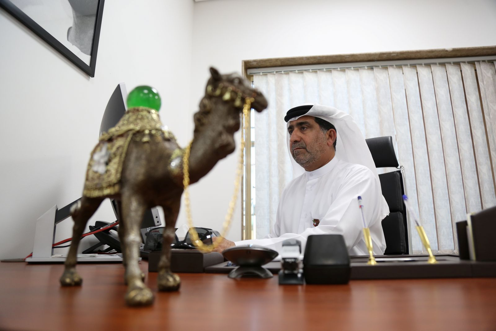 Director Mohamed Al Bulooshi sits in his office at Dubai Camel Hospital in Dubai