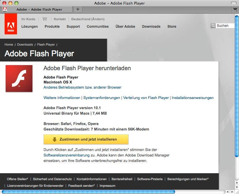 SCREENSHOT Adobe Flash Player