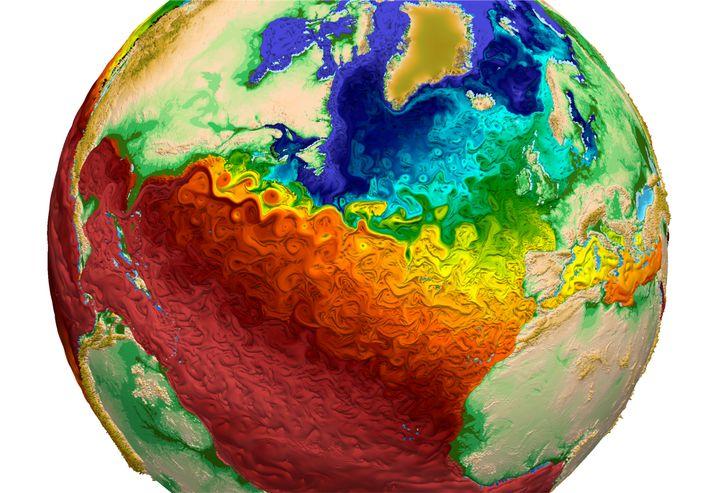 Ozeanströmungen und Wirbel in einer Simulation des Los Alamos National Laboratory