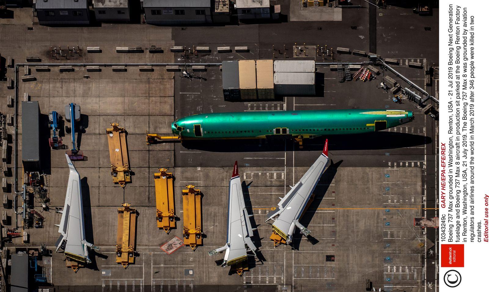 EINMALIGE VERWENDUNG Boeing Produktion in Renton SPIN DER SPIEGEL 32/2019 S.19
