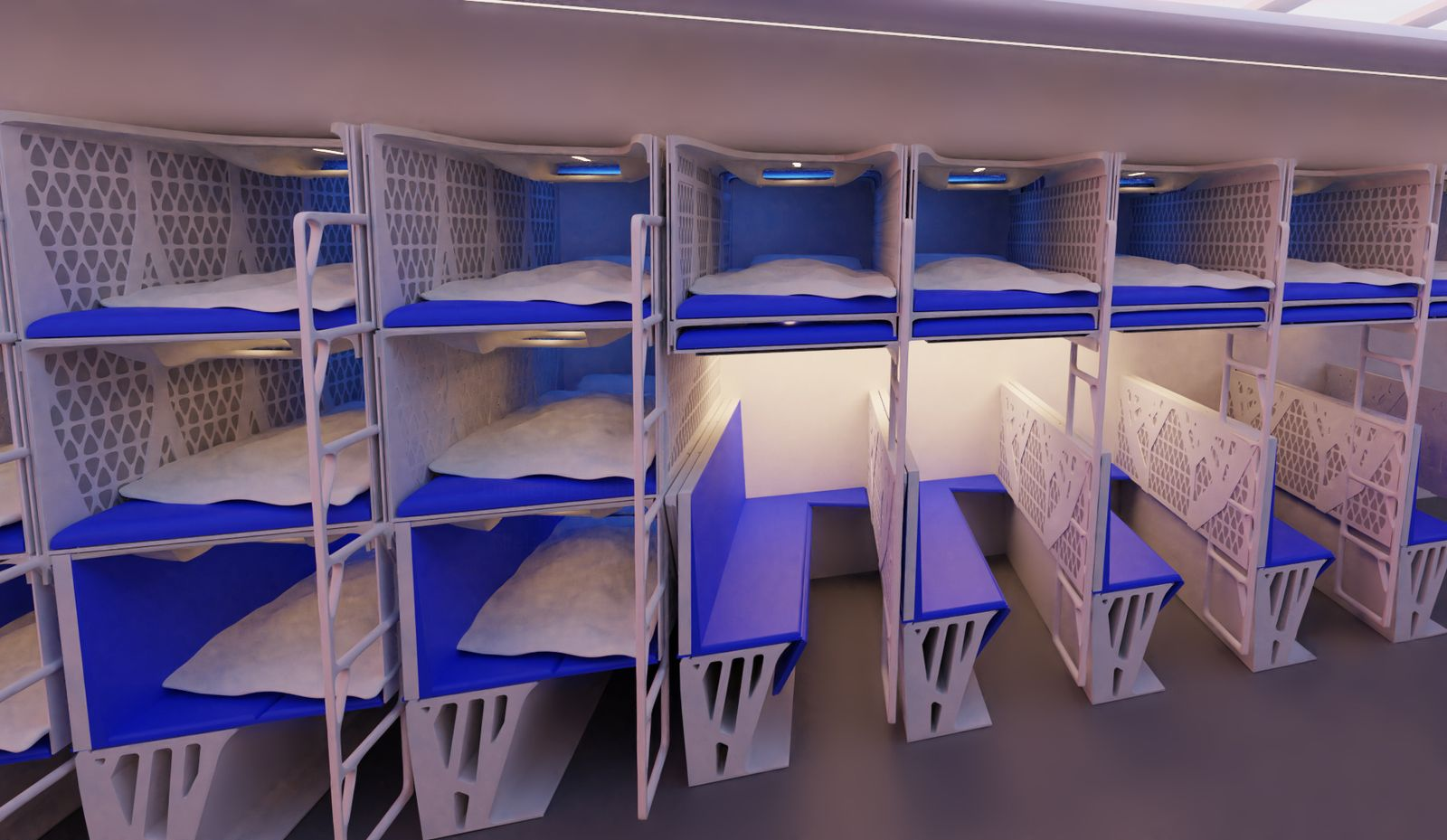 Crystal Cabin Award / Delft University of Technology / Collapsible beds for the flying V
