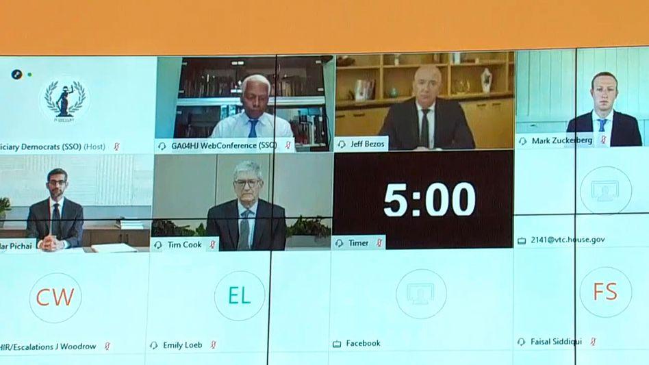 Bezos, Zuckerberg, Pichai und Cook werden per Videokonferenz befragt