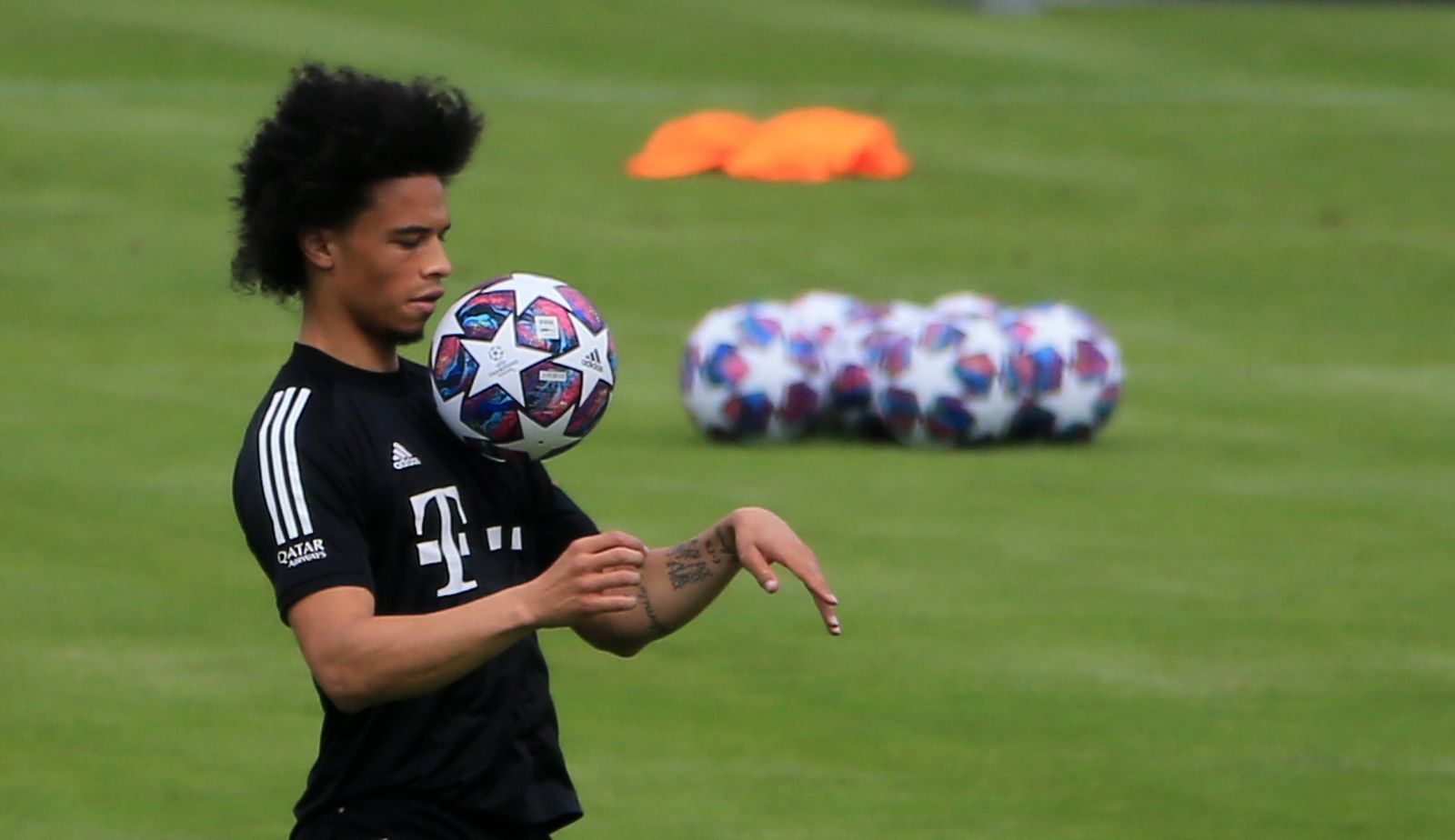 24.07.2020, FC Bayern Trainingsgelaende, Saebenerstrasse, Muenchen, im Bild: Leroy Sane (FCB) *** 24 07 2020, FC Bayern