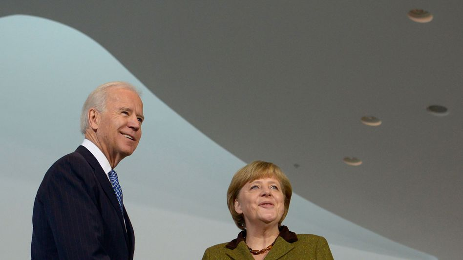 Joe Biden, damals US-Vizepräsident, Kanzlerin Angela Merkel 2013 in Berlin