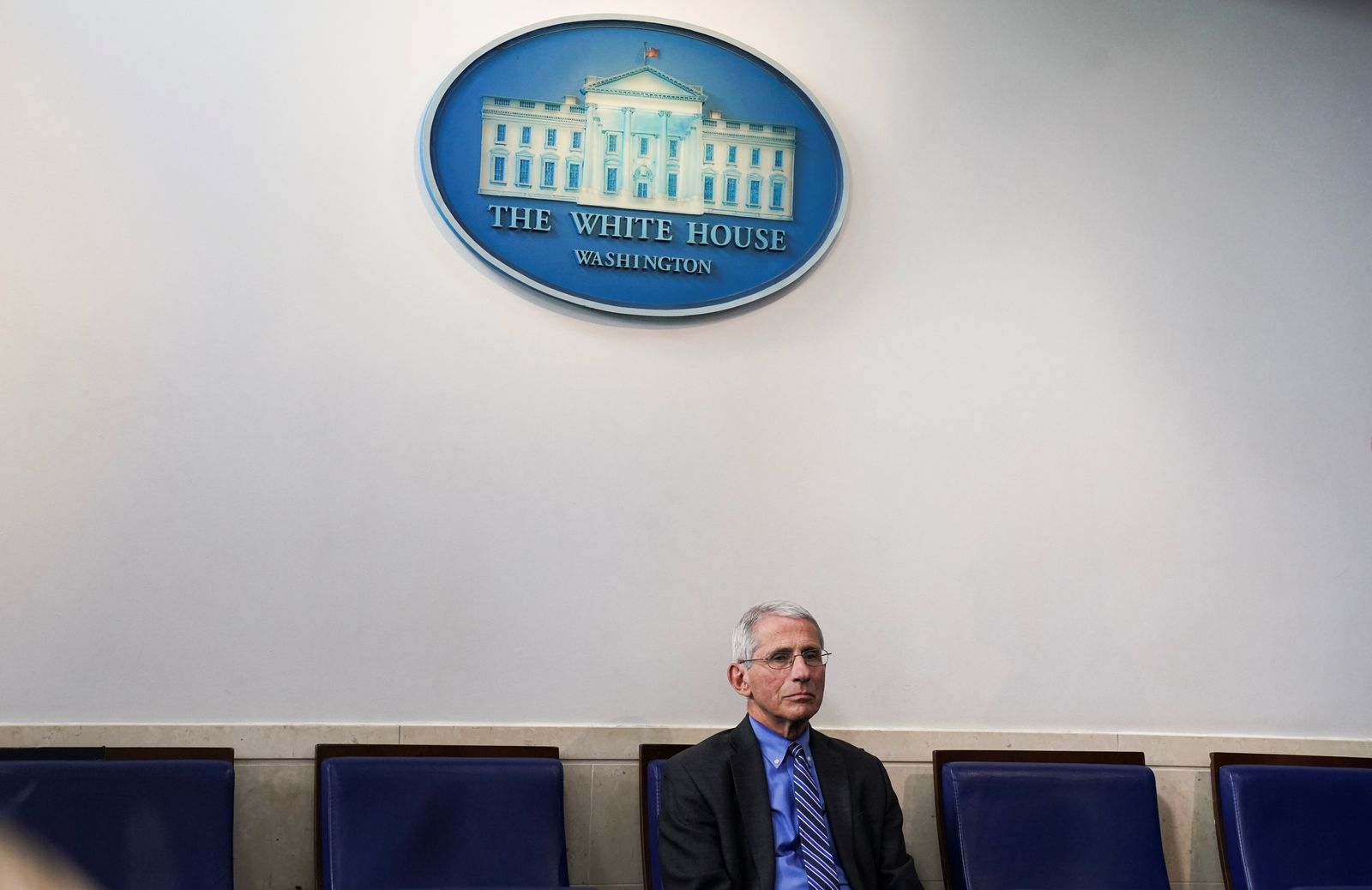 Dr Anthony Fauci attends the daily coronavirus response briefing at the White House in Washington