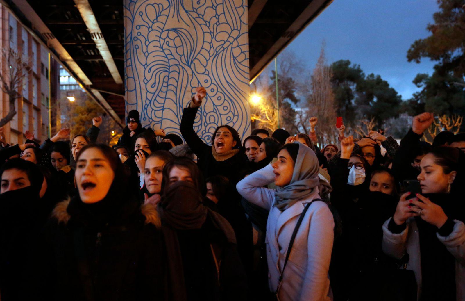 Protests over Iran admits shooting down Ukraine International Airlines plane, Tehran, Iran Islamic Republic Of - 11 Jan 2020