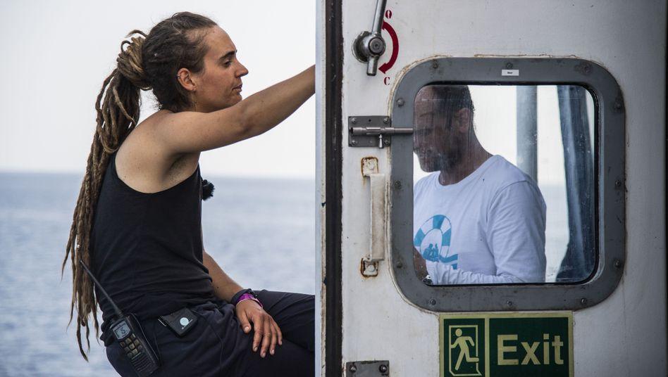 Sea Watch 3 Captain Carola Rackete in Lampedusa, Italy
