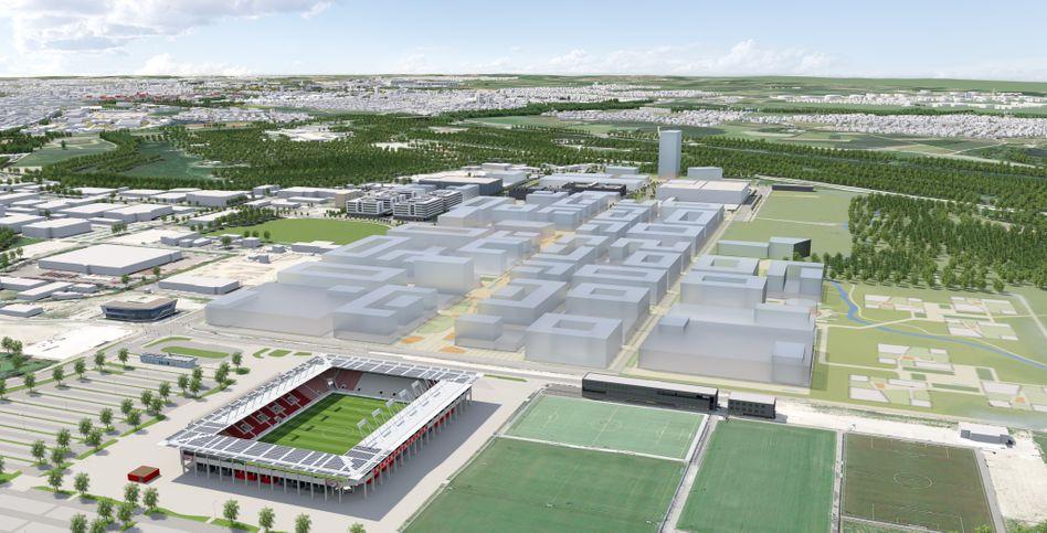 Hier wird Audi zukünftig entwickeln: Auf dem Gelände einer ehemaligen Erdölraffinerie in Ingolstadt soll der Technologiepark IN-Campus entstehen.