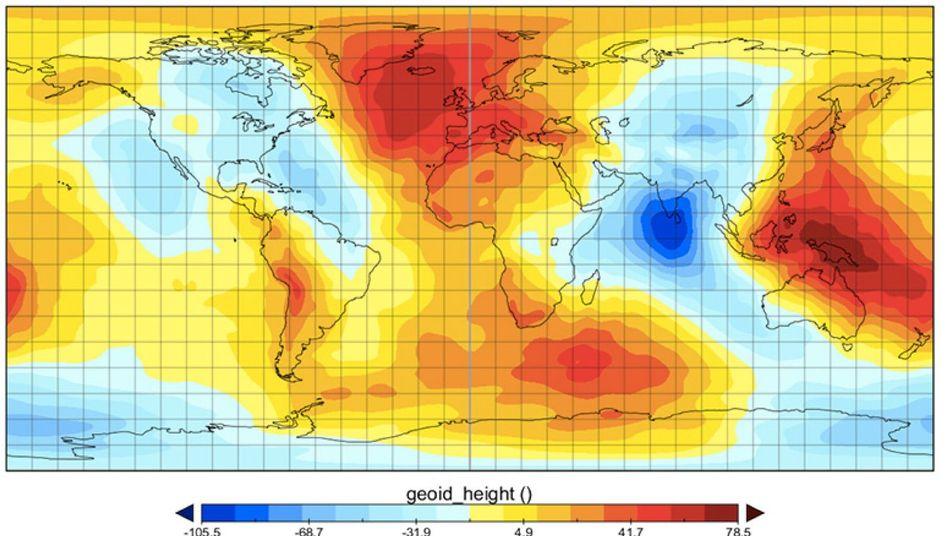 Karte der Schwerkraft: In den blau markierten Regionen ist die Schwerkraft geringer als normal, in den rote Zonen größer.