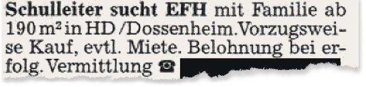 Anzeige in der »Rhein-Neckar-Zeitung«