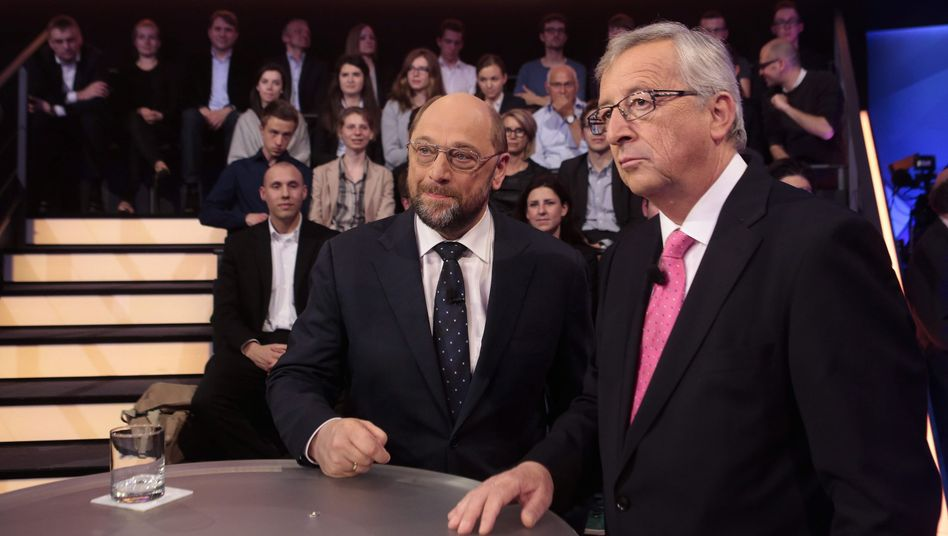 """Wahlkämpfer Schulz, Juncker: """"Sie sollten sich daran gewöhnen, manche Fragen differenzierter zu beantworten"""""""