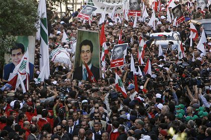 Hundreds of thousands attended funeral ceremonies for Pierre Gemayel on Thursday in Beirut.