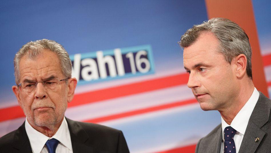 Norbert Hofer (rechts), Alexander Van der Bellen (links)