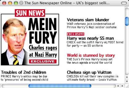 """""""Mein Fury"""" (""""meine Wut"""") titelt die """"Sun"""" anlässlich des Thronfolgers Zorn - die lautliche Nähe zum """"Führer"""" ist gewollt"""