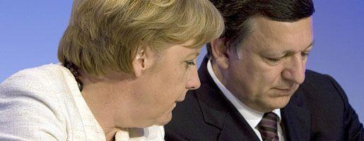 Merkel, EU-Kommissionschef Barroso (am Mittwoch in Berlin): Zeitplan zur Lösung der Krise angestrebt