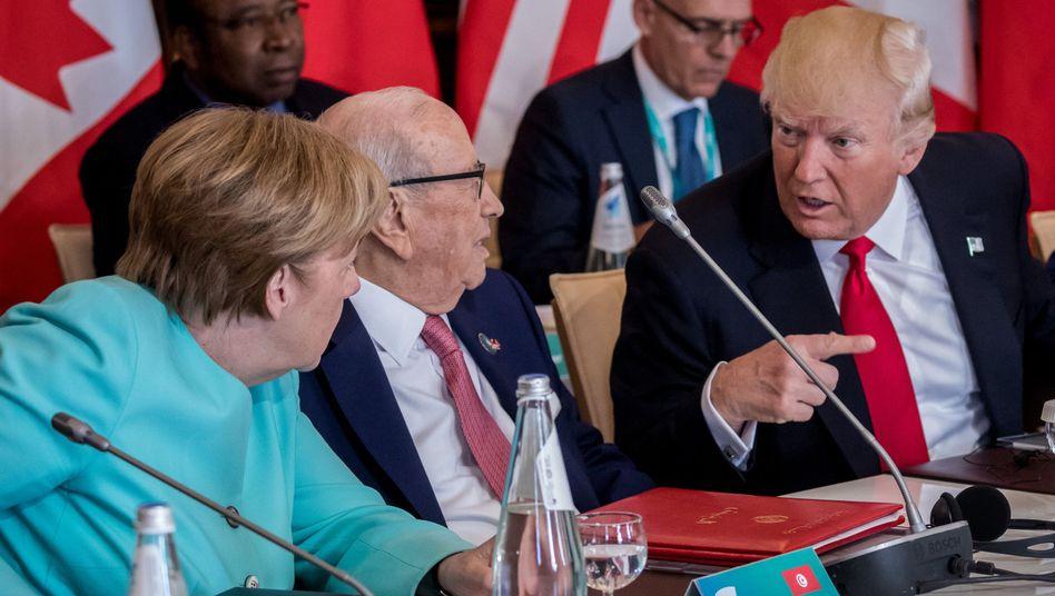 Angela Merkel, Tunesiens Präsident Beji Caid Essebsi, Donald Trump