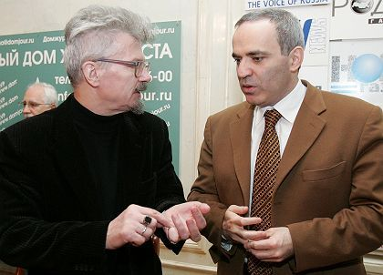 Gary Kasparov (right), a leading figure in Other Russia movement speaks with leader of National Bolshevik party Edward Limonov.