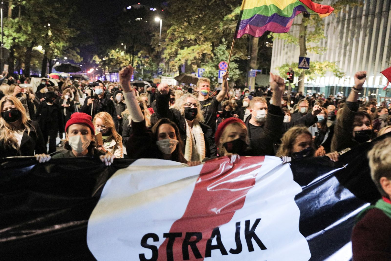 People protest against imposing further restrictions on abortion law in Poland in front of the Constitutional Court building in Warsaw