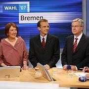 Jens Böhrnsen (re) und seine potentiellen Koalitionspartner: Karoline Linnert (Grüne), Thomas Röwekamp (CDU)