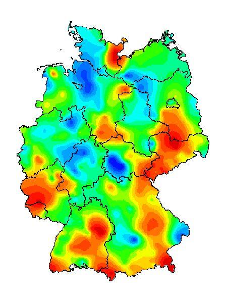 Akute Atemwegserkrankungen in Deutschland (Daten der vergangenen Woche): In den roten Bereichen infizieren sich besonders viele Menschen