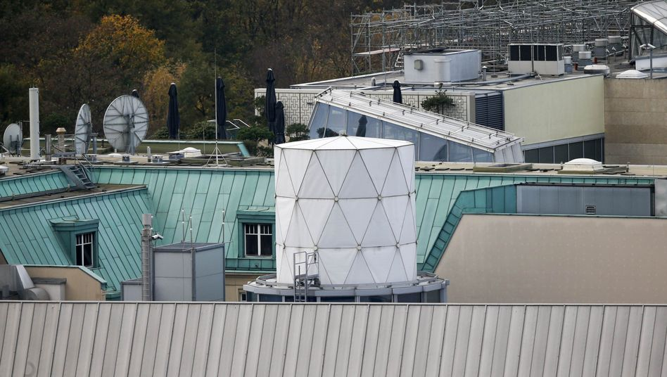 "Last year Britain's Independent newspaper exposed that Britain's GCHQ had established a ""secret listening post"" on top of the British Embassy in Berlin. The cylindric structure has since been removed."