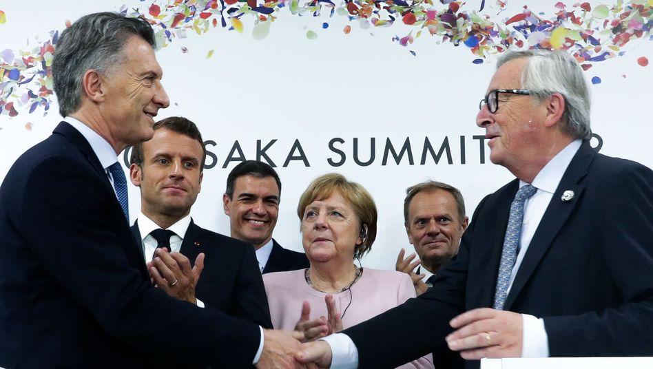 Handelspartner: Argentiniens Präsident Mauricio Macri (l.) und EU-Kommissionschef Jean-Claude Juncker (r.)