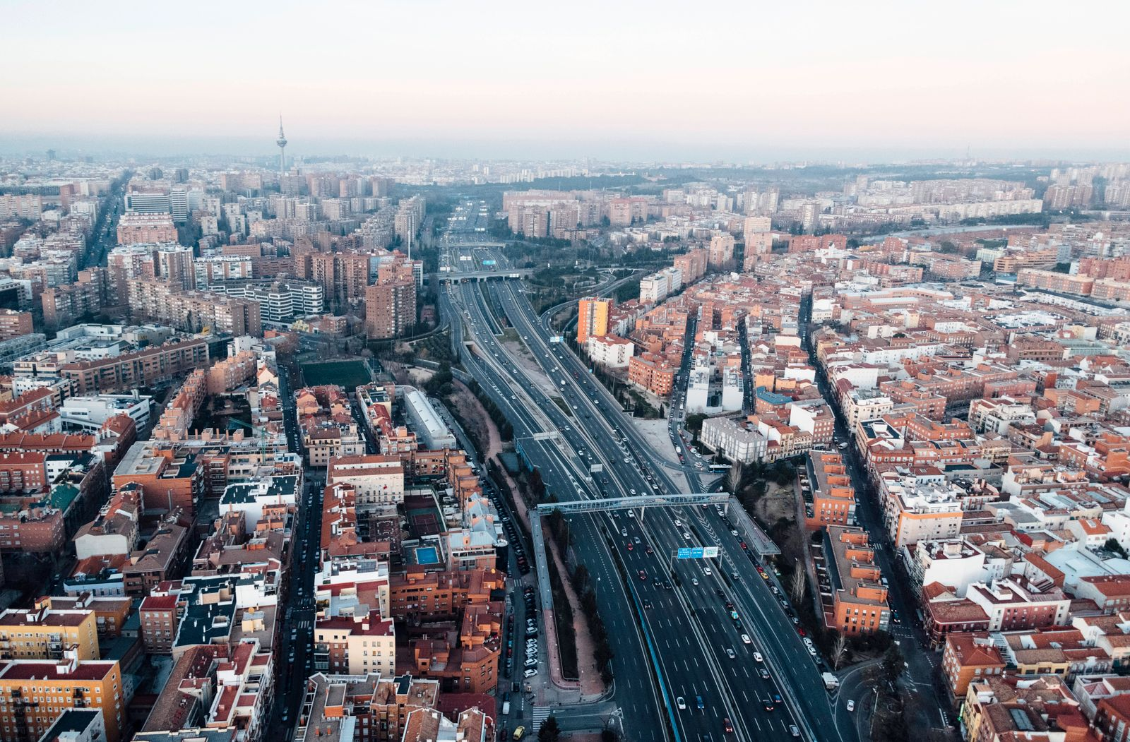 Spain, Madrid, Helicopter view of multiple lane highways in middle of city JCMF00513