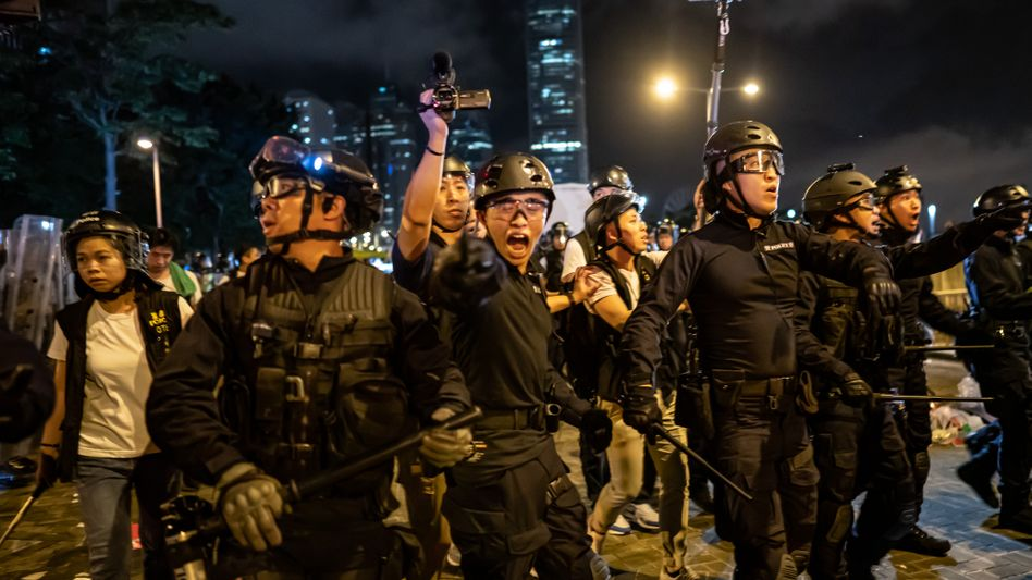 Police in Hong Kong during recent protests there