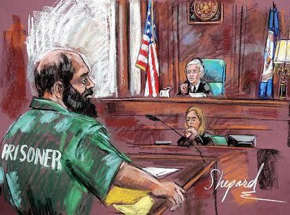 """Moussaoui (Gerichtszeichnung): """"Werde mit allen Mitteln gegen die Todesstrafe kämpfen"""""""