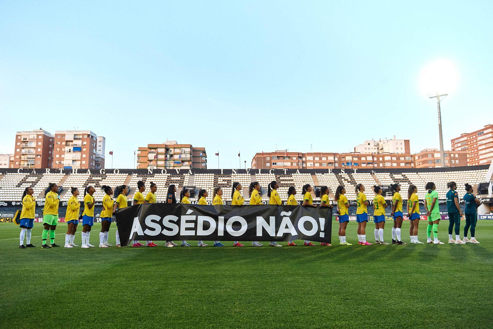 Cartagena, Spain, June 11th 2021 Brasil players prior the Womens International Friendly, Länderspiel, Nationalmannschaf