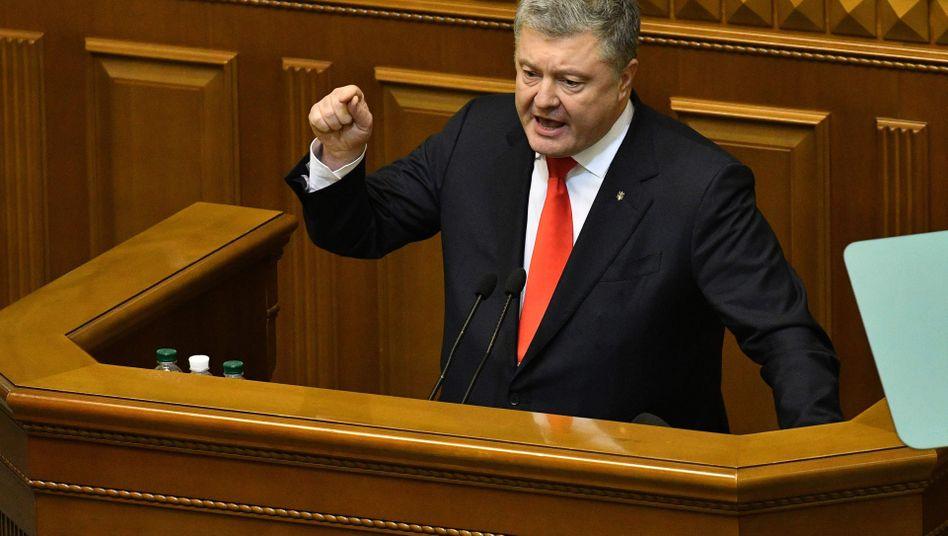 Petro Poroschenko im ukrainischen Parlament