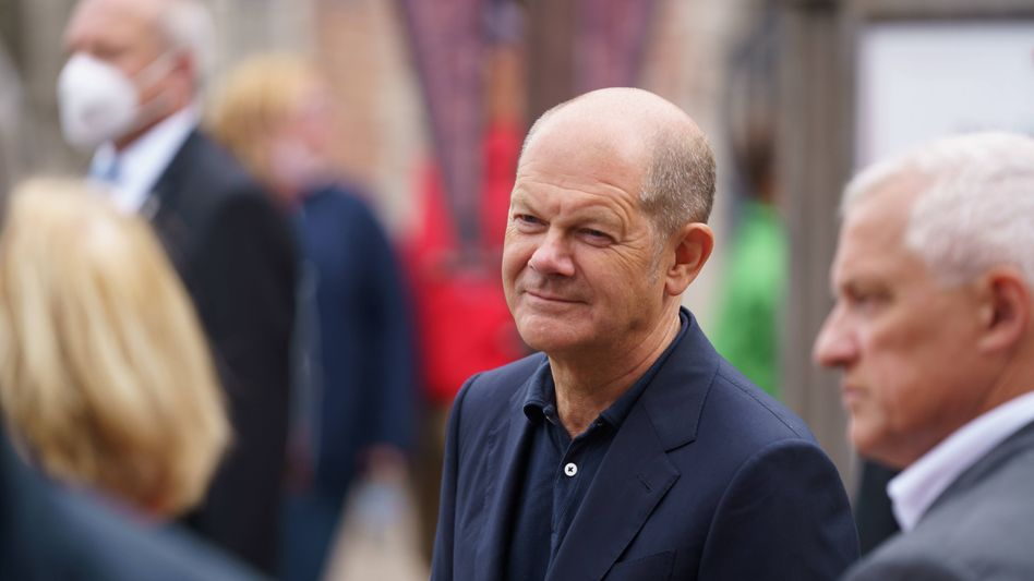 SPD-Kanzlerkandidat Olaf Scholz bei einem Wahlkampfauftritt am Sonntag
