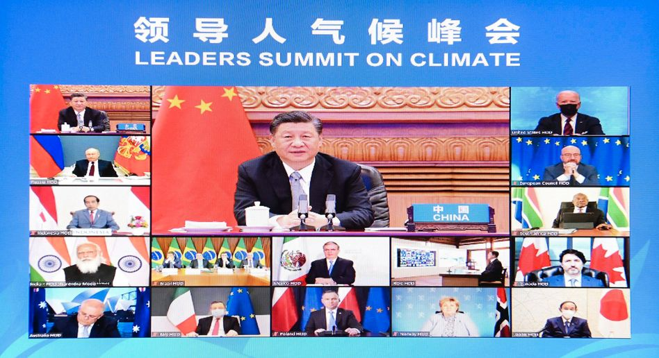 World leaders at the virtual climate summit in April 2021