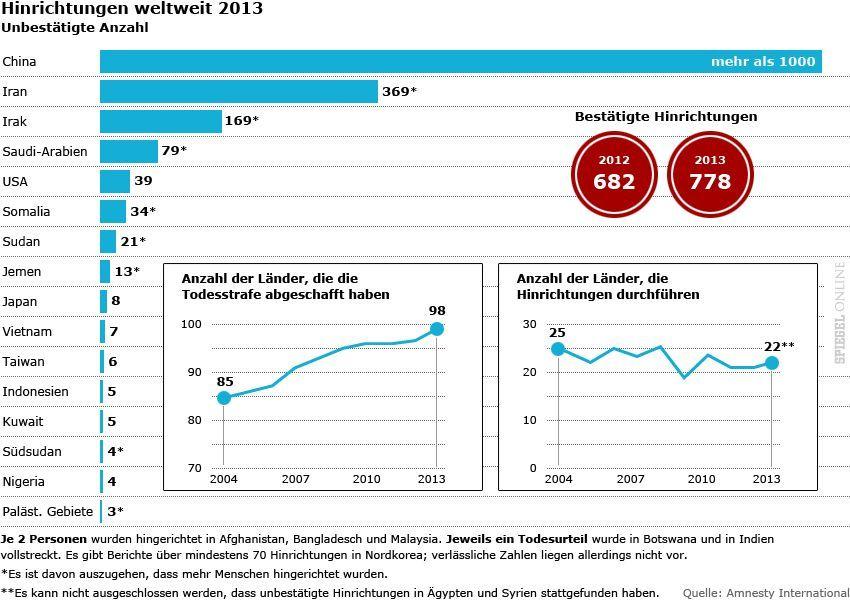 Grafik - Hinrichtungen weltweit 2013