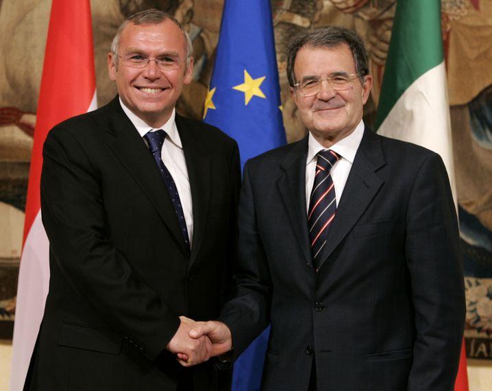 Gusenbauer und Prodi, 2007, als beide noch Regierungschefs waren
