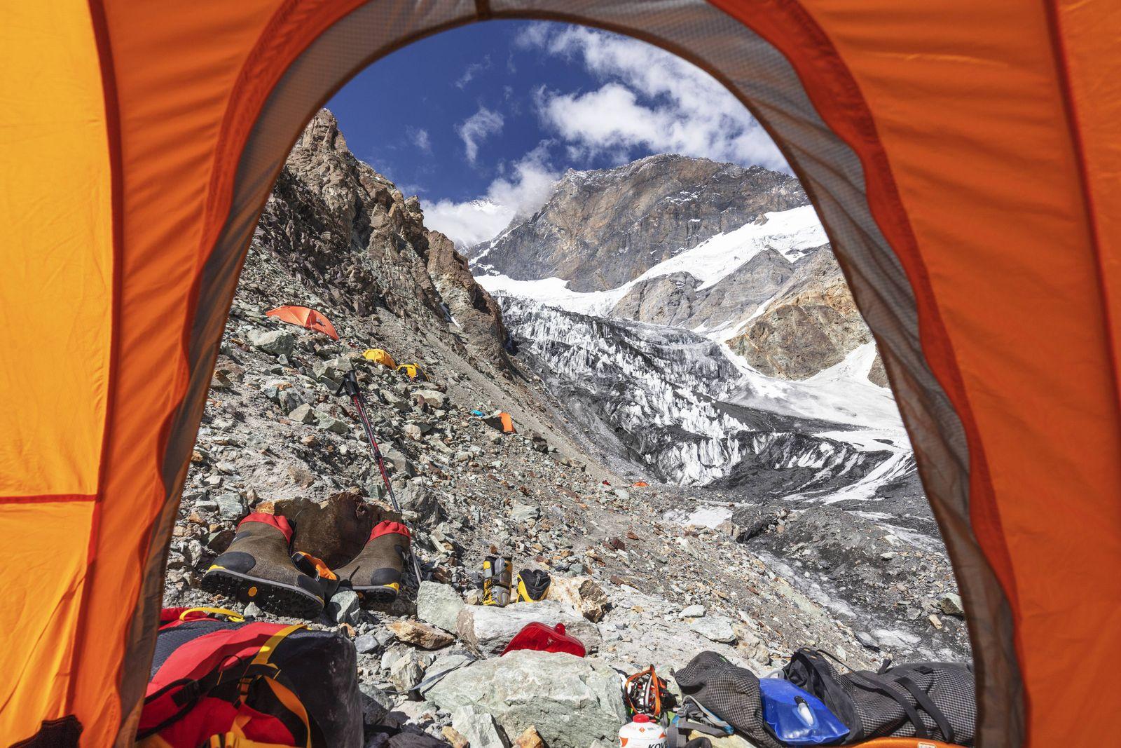 Tents at Camp 1 at 5100m on Peak Korzhenevskaya 7105m Tajik National Park Mountains of the Pamirs