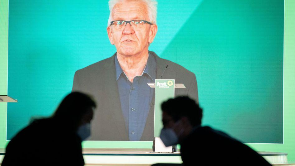 Winfried Kretschmann sprach per Video zu den Delegierten