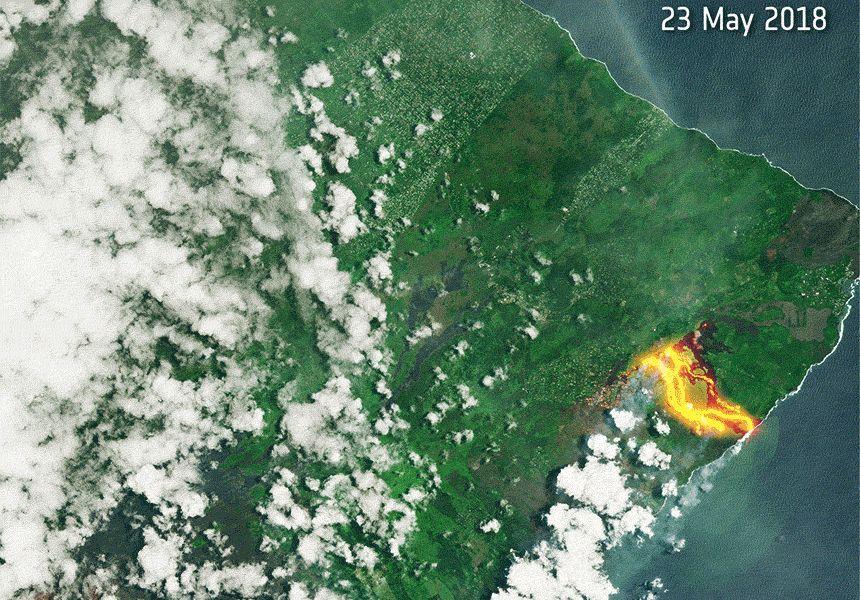 Satellitenbild der Woche - Vulkan Kilauea - Animiertes Gif / Animation