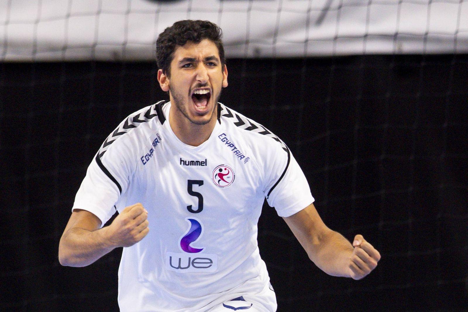 Handball WM Ungarn Ägypten 190116 Yahia Omar of Egypt celebrates during the IHF World Handball Ch