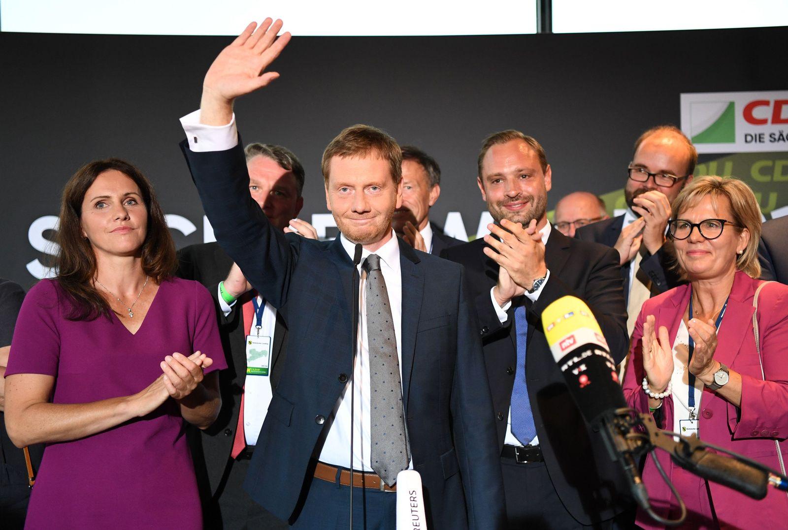 Sachsen - Wahlparty CDU Kretschmer
