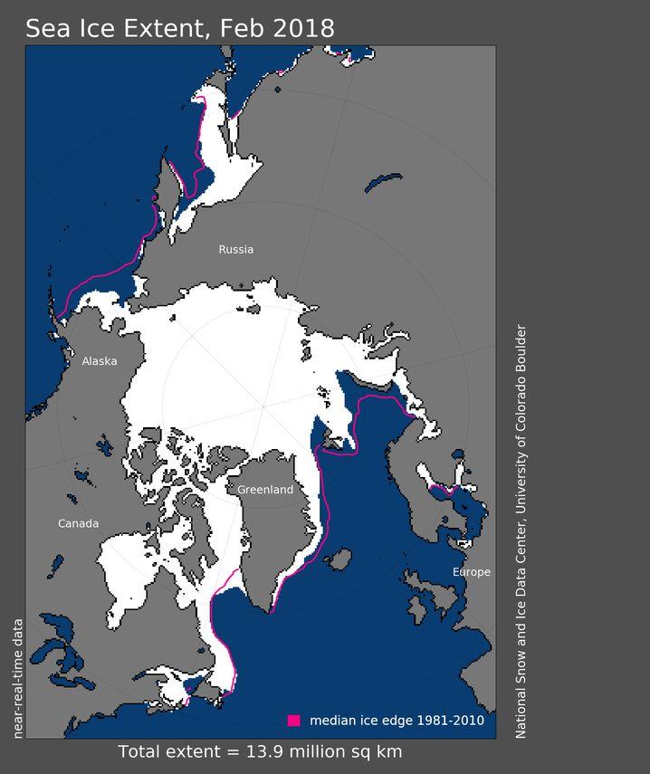 Ausdehnung des Meereises im Februar 2018 im Vergleich zum Februardurchschnitt der Jahre 1981 bis 2010