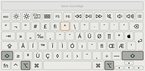 Gut zu finden und zu üben: Die Tastaturübersicht zeigt interaktiv, welche Zeichen auf der Tastatur versteckt sind