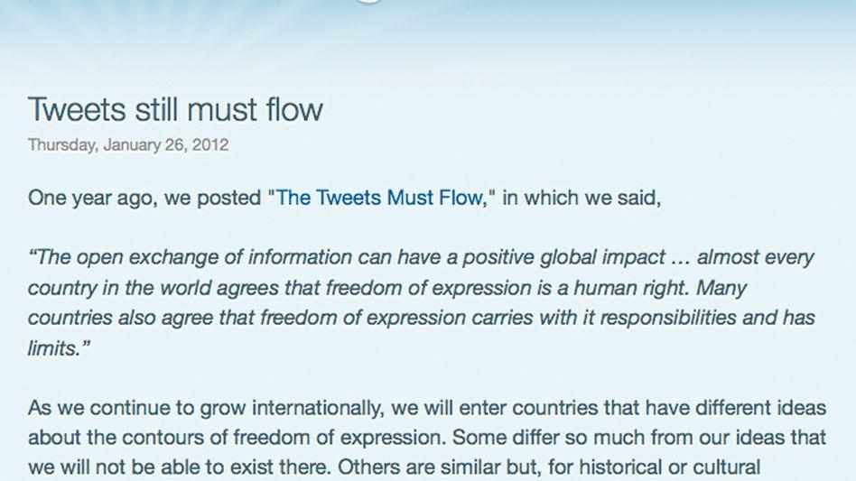 Twitter-Blog: Tweets können in einzelnen Ländern blockiert werden