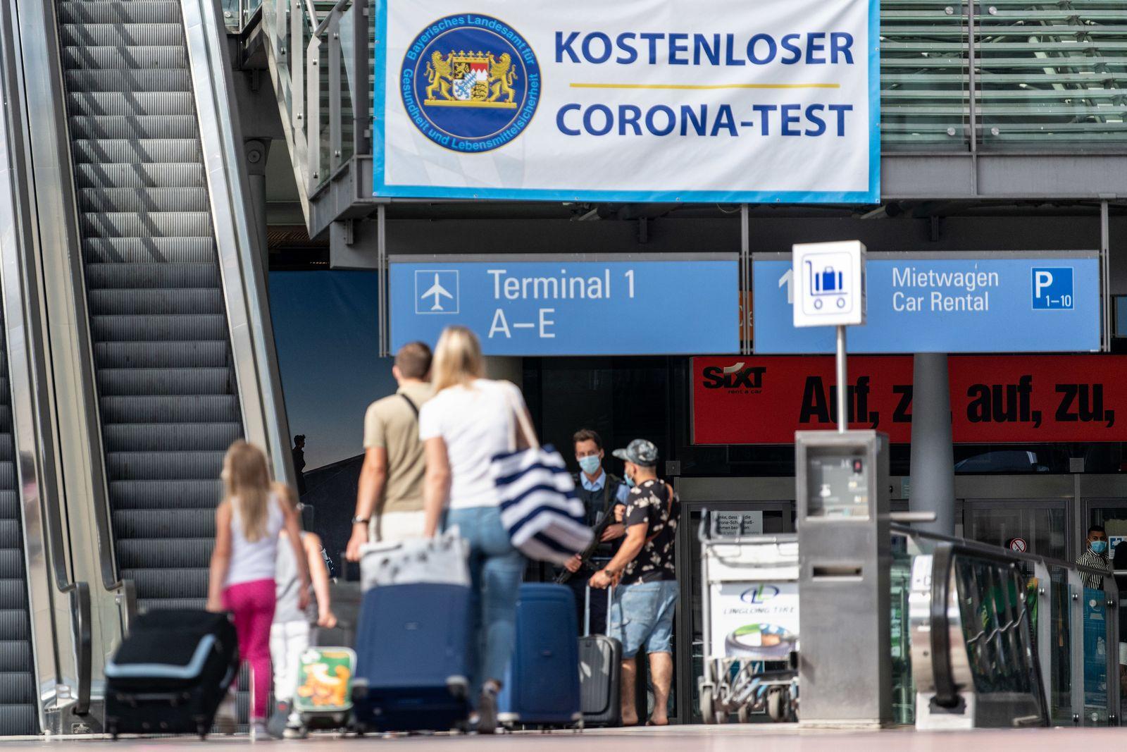 Corona-Teststation am Flughafen München